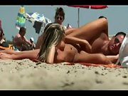 Mind-blowing blonde babe gets caught frolicking with her man's cumbot at the nudist beach