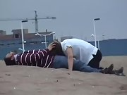 Nasty wifey sucking hubby and swallowing spunk at the beach