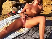 Horny wifey with sexy long legs masturbating hard at the beach